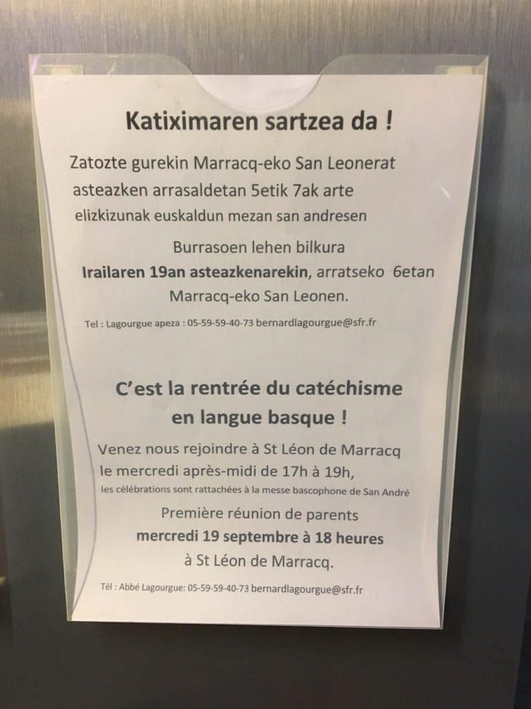 Basque language notice