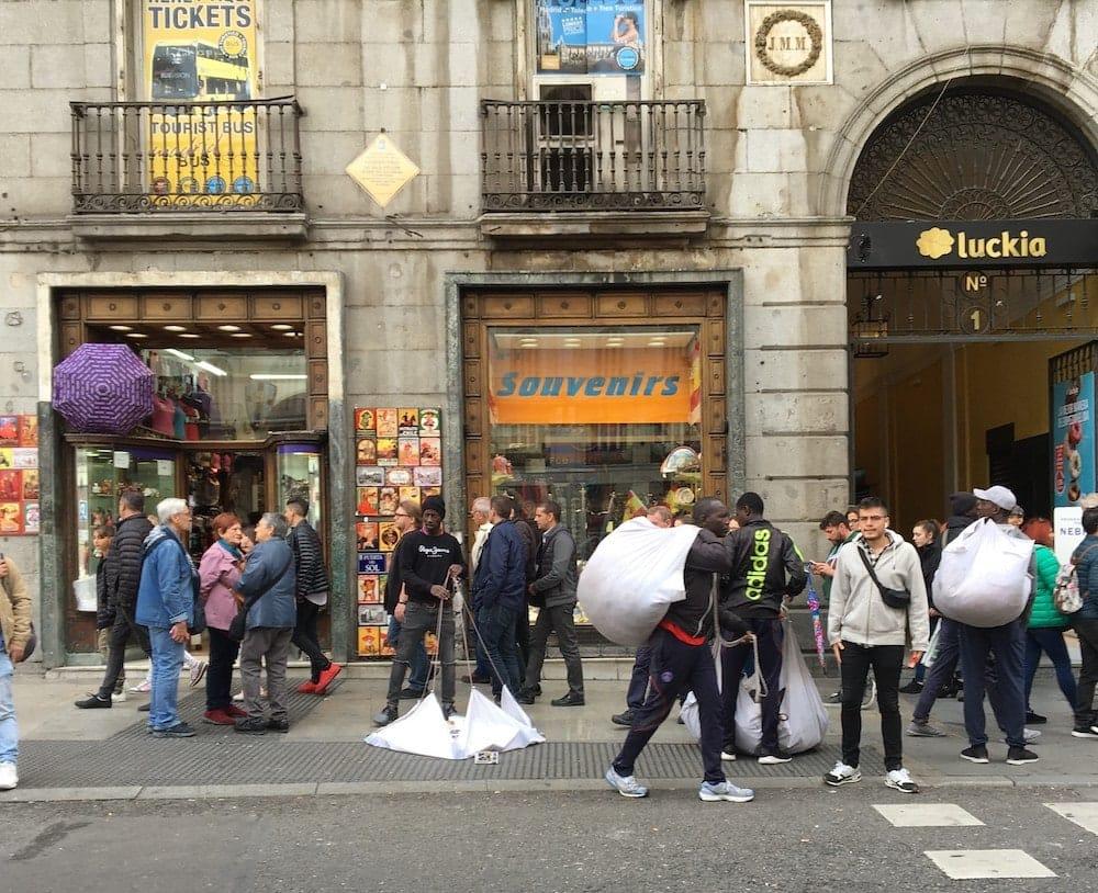 Merchants leave Plaza Mayor
